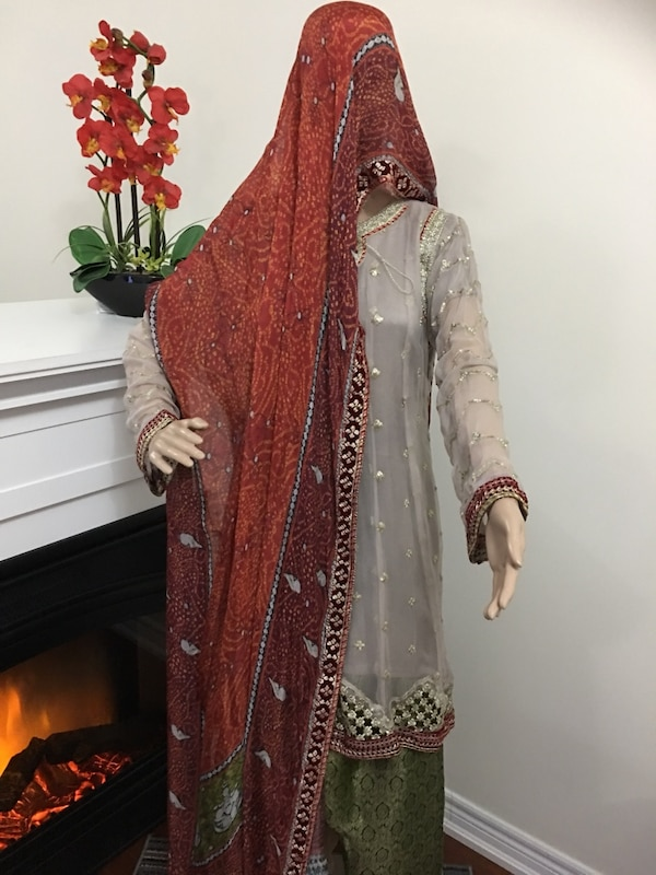 women's red and brown traditional dress