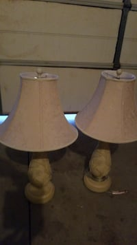 Cream and white table lamps