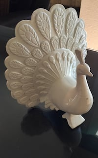white Peacock ceramic figurine