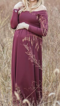 Burgundy off the shoulders Maternity Gown Paint Lick, 40461