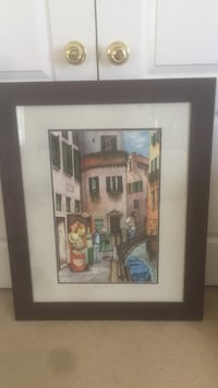 Brown wooden framed painting of house Fallbrook, 92028