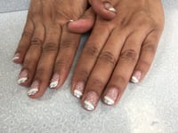 French manicure with stone and glitter. Brampton, L7A 0G6