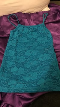 women's teal floral lace spaghetti strap top