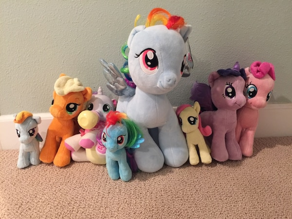 6161367a Used My Little Pony stuffed animals and accessories hats scarves for ...
