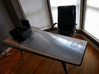 Airplane wing desk. Black leather chair included   Danbury