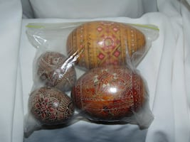 Wooden hand painted eggs