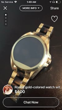 round gold-colored analog watch with link bracelet Fort Hood, 76544