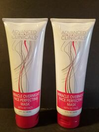 two Advanced Clinicals Miracle overnight Face perfecting mask soft tube bottles Santa Maria