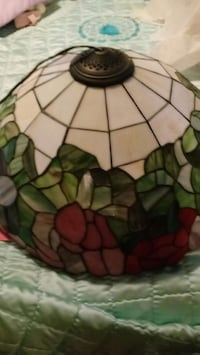 white and green glass lampshade