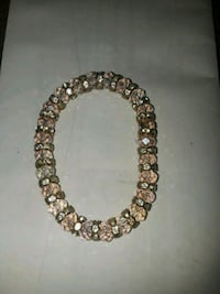round brown and white beaded necklace