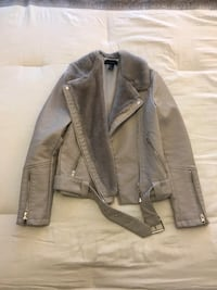 gray leather zip-up jacket Rockville, 20850