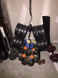 Free-weights with bar and stand.