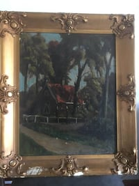 Framed old original oil painting 科奎特兰