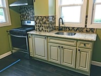 Like new solid wood kitchen cabinets and granite Staten Island, 10314