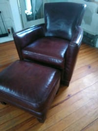 Crate & Barrell leather chair w/ ottoman