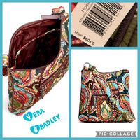 quilted multicolored paisley Vera Bradley crossbody bag collage