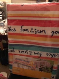 """New in Pkg.  Nice Fabric Bright Colored   'Fun in the Sun' Round (70"""") Table Cloth  $10  Great item for that summer party !  Good Quality Fabric   Walgreens Oakland Canada rd wolfchase Kirby whitten and stage once a week-cp"""