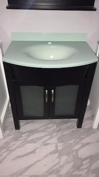 """30"""" Modern Bathroom Vanity Single Sink Cabinet with Tempered Glass Top and Mirror Fairfax"""