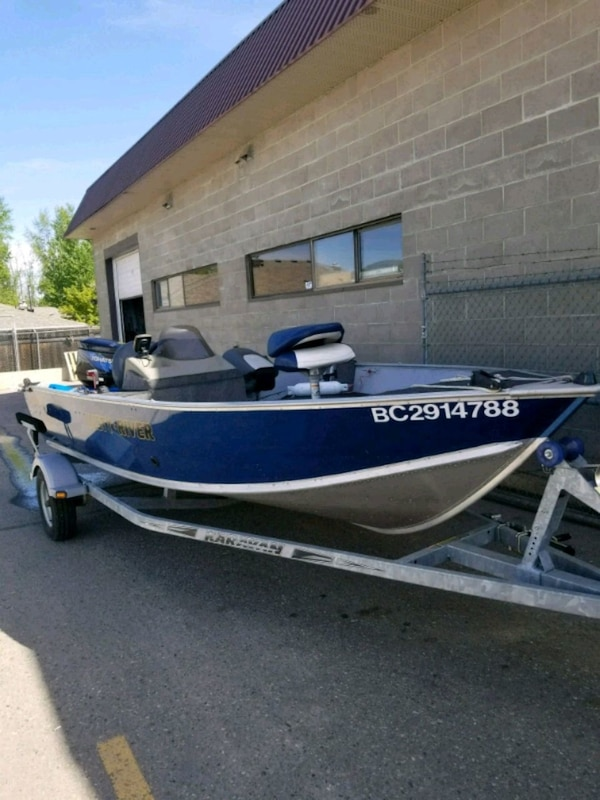 blue and white speed boat