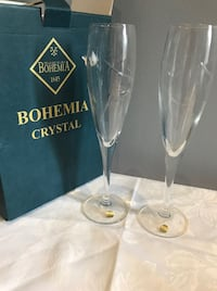 Bohemia Crystal Champagne glasses. Etched doves Bolton