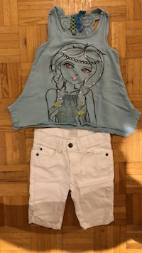 BLU top (size 6) + white Capris from Children's Place (size 6) Laval, H7P 3B6