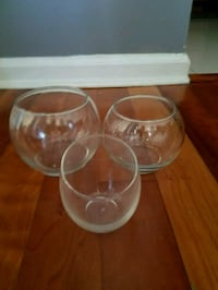 two clear glass footed cups Falls Church