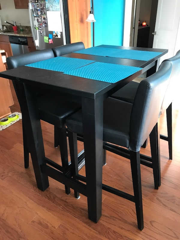 4 leather bar stools for High Table