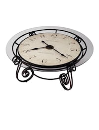 Gold metal and glass clock table Severn, 21144
