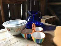 Set of bowls, blue glass pitcher with plate base, party snack or dip bowl Contoocook, 03229