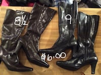 two pairs of black heeled boots