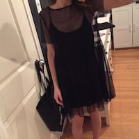 Sheer dress with black slip - small