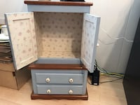 "Blue and white doll wardrobe. Nothing wrong, nothing broken. Solid wood! 15"" w x 10"" d x 28"" h. All hand painted , used for American girl doll clothes and night stand! Great in little girls room! Homewood, 60430"