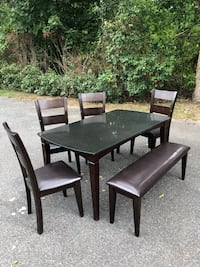 rectangular brown wooden table with four chairs dining set New Bedford, 02745