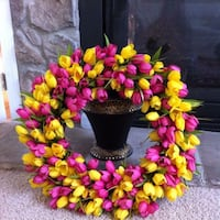 Spring Wreath with Pink and Yellow Tulips Lorton, 22079