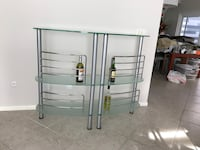 glass-top 3-tier rack with gray steel frame