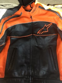 Alpine Stars leather motorcycle jacket large mint condition rarely used orange and black with pads inside  Simi Valley, 93063