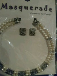 Necklace and Earring Set Gray, 37615