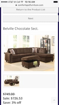 Belville Chocolate Sectional  Mesquite