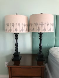 Bedside table lamps (2) black with decorative lamp shades Calgary, T2Z 0J9
