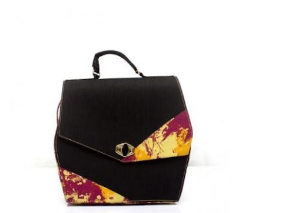black and red floral leather handbag 9df40348-3d02-4839-a441-4e25572b4fe2