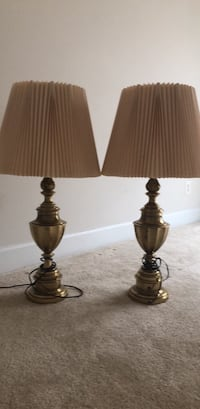 Two brass table lamps with lampshades Manassas, 20110