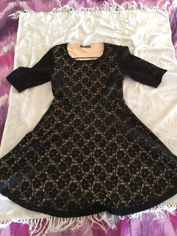 black and gold 3/4-sleeve lace dress