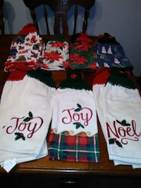Christmas kitchen towels with crochet top/ button Downers Grove