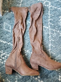 Brown suede thigh high boots size 6.5, brand new, never been worn