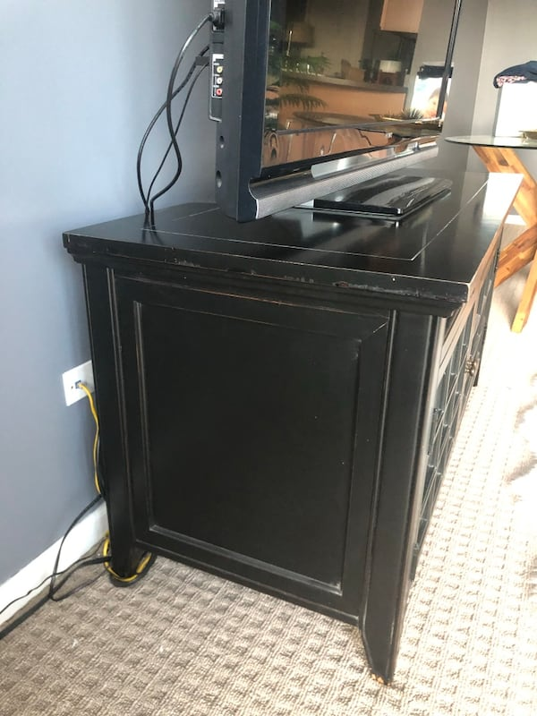 Black TV Stand/Media Console Solid Wood 5