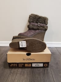 Brand new Brown furry wedge/boots