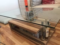 Wood coffee&Side table with glas