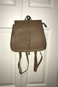 Small Beige Leather Backpack