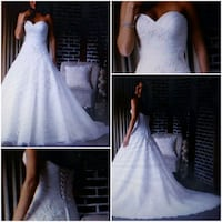 Size 16; Ivory Strapless Lace Bridal Ball Gown Lewisville, 75067