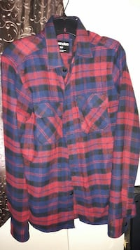 blue, black and red flannel